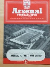 Arsenal Reserves v West Ham Reserves- Football Combination 20 November 1954
