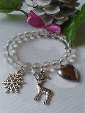 Weihnachts Armband Schneeflocke Herz Hirsch Charms Perlen Weihnachten Geschenk