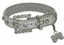 Showman Couture XSMALL SILVER Leather Dog Collar with Crystal Rhinestones!
