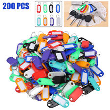 200 Key Ring ID Labels Plastic Tags Split Rings For Home Motel Company Facility