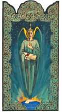 ARCHANGEL URIEL GUARDIAN OF EARTH & HUMANKIND HANDCRAFTED WOOD POCKET RETABLO-A7
