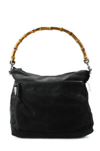 Gucci Nylon Bamboo Handle Satchel Handbag Black
