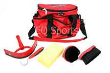 Fantastic Knight Rider Canvas Tack Kit Bag & Grooming Accessories Red/Black !!
