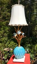 Vintage MCM Mid Century Italian Art Glass Lamp Murano Barovier Toso Seguso Blue