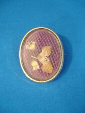 VICTORIAN MOURNING BROOCH - REAL HAIR WOVEN PATTERN, DRIED FLOWERS
