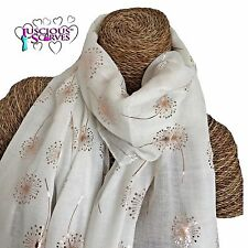 OFF WHITE SCARF WITH ROSE GOLD GLITTER DANDELIONS LADIES SUPERB SOFT QUALITY