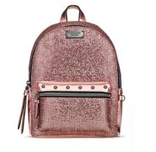 NEW Victorias Secret Metallic Mesh Mini City Backpack SEXY Hot Rose Gold Bag NWT