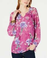 Style & Co Women's Blouse Floral-Print Split-Neck Top, Pink, Size M, $60, NwT