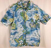 Guy Romo Shirt Henley Short Sleeve Pocket Tropical Hawaiian Men Size L - Vintage