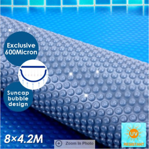 600 Micron Solar Outdoor Swimming Pool Cover Blanket Blue/Silver 8M x 4.2M