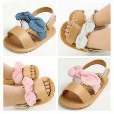 Newborn Baby Girl Crib Shoe Infant Child BowKnot Inhouse Crawling Summer Sandals