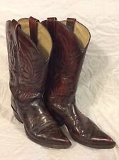 J. Chisholm Style 990 Men's Cowboy Boots Size 9D Red Leather Burgundy Used Nice