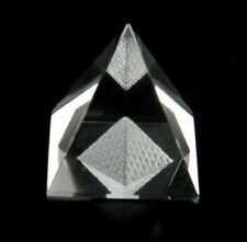 "Crystal Pyramid inside Pyramid Statue Oranament 2"" with Gift Box"