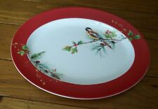 Lenox Winter Song Oval Platter Red White NWT