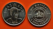 SWAZILAND - 5 EMALANGENI UNC COIN 2008 YEAR 40th YEARS KING BIRTHDAY