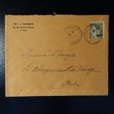 TYPE PAIX N°298 SEUL SUR LETTRE COVER CAD LYON PERRACHE 1935 -> VAREY