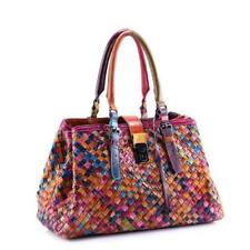Hand-woven Women's Multi-color Leather Handbag Large Capacity Messenger Bag Tote