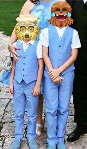 Boys Next Light Blue 4 Piece Suit Age 8-9 years. Summer Wedding, Christening