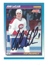 JOHN LECLAIR AUTOGRAPH SCORE ROOKIE HOCKEY CARD SIGNED MONTREAL CANADIENS