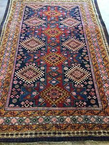 Antique Old Used Caucasian Handmade Wool Rug Carpet Shabby Chic,Size:6.5 By4.4Ft