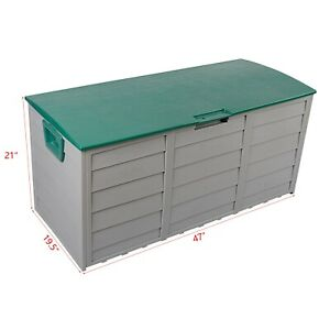 Outdoor Garden Plastic Storage Deck Box Chest Tools Cushions  Seat water proof