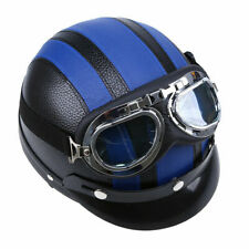 New Motorcycle Scooter PU Leather Open Face Half Helmet Adjustable Blue Strip