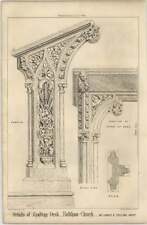 1869 Details Of A Reading Desk In Holkham Church, James Colling Architect