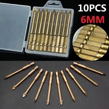 10 x 6mm Tungsten Carbide Drill Bit Glass Tile Marble Mirror Ceramic Spear Head