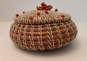 Antique Pine Needle Basket With Lid