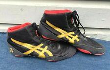 VTG Men's ASICS J501N Gold/Black/Red Athletic Mat Wrestling Shoes Size 12.5