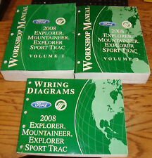 2008 Ford Explorer Sport Trac Mountaineer Shop Manual Vol 1 2 + Wiring Diagram