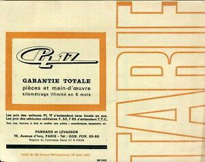 Panhard PL17, Tigre, Cabriolet, Utilitaires French market Prices & options 19612