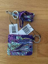 Vera Bradley Campus Double ID And Lanyard Batik Leaves(purple) NWT