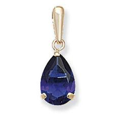 9ct GOLD Corte Pera Zafiro Azul COLGANTE CON CIRCONITA