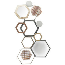 Hexagonal Metal and Mirrored Geometric Wall Art, Chic Style Traditional, Hallway