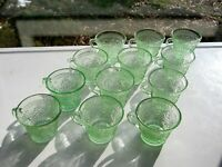 Tiara Indiana Glass 12 Chantilly Green Sandwich 6 ounce Punch Cups