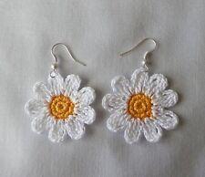 Crochet White Daisy Flowers SILVER DANGLE  DROP  Earrings  Jewelry  Women Girls