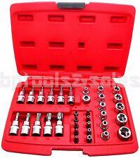 "34pc Torque Bit and E-Socket Set Tamper Proof Mechanics Tool Star 1/4"" 3/8"" 1/2"""