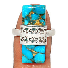 Hand Work - Copper Blue Turquoise 925 Sterling Silver Ring Jewelry s.6.5 BR84716
