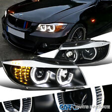 06-08 BMW E90 3-Series Sedan 4Dr Black Facelift 3D Arc Halo Projector Headlights