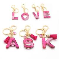 Women A-Z Alphabet Resin Keychain Letter Keyring Handmde Charm Bag Pendant Gifts