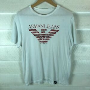 Armani Jeans White Short Sleeve Graphic Mens White T-Shirt Size M / L