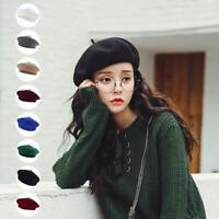 Women Sweet Solid Warm Wool Winter Beret French Artist Beanie Hat Ski Cap Hat so
