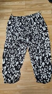 Black & White Animal Print Elasticated Waist Summer Trousers Size 22 by George