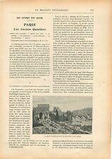 Paris Porte Saint-Bernard & la La Tournelle Château de Bercy GRAVURE PRINT 1908
