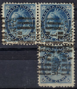 Canada-1898-QV-5 c. second issue x 3,canceled
