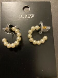 *NEW*w/Tags! J.CREW Mini-White PEARL Open Hoop EARRINGS! Authentic! GREAT GIFT!