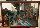 """Rare Antique 19th Century Chinese Reverse Glass Painting 27"""" X 19"""""""