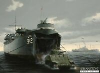Military art post card Battle Normandy D Day landing craft sherman tank damaged