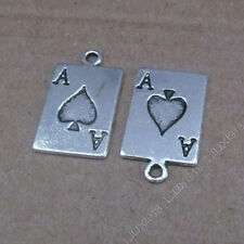 15x Tibetan Silver Poker cards Pendant Charms DIY Jewellery Accessories /623